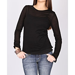 Norma Jeane Juniors 'Girl's Best Friend' Sheer Black Long Sleeve Tee
