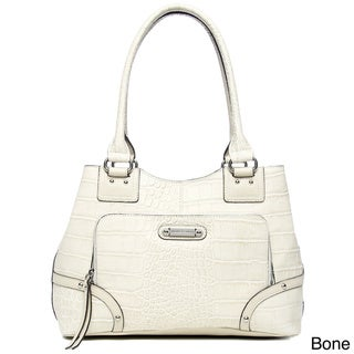 Franco Sarto Dixon Leather Embossed Crocodile Tote Handbag
