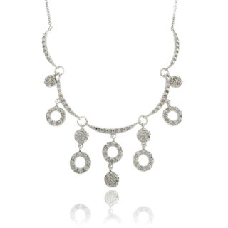 Finesque Silverplated Diamond Accent Circles Necklace (I-J, I2-I3)
