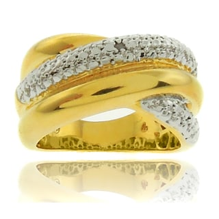 Finesque  Fusion 18k Gold Overlay Diamond Accent Criss Cross Ring (I-J, I2-I3)