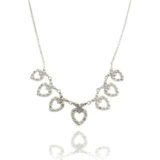 Finesque Silver Overlay Diamond Accent Hearts Necklace (I-J, I2-I3)