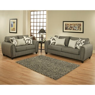 Furniture of America Grey 2-piece Chenille Sofa and Loveseat