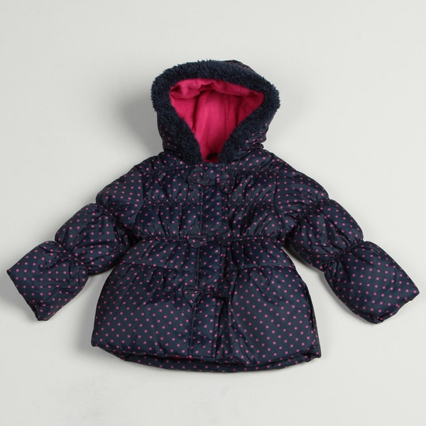 Pink Platinum Girl's Navy Polka-dot Puffer Jacket