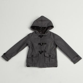 Velvet Chic Girl's Solid Charcoal Hooded Jacket