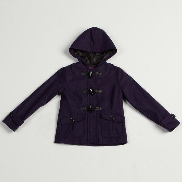 Velvet Chic Girl's Purple Wool Blend Hooded Jacket FINAL SALE