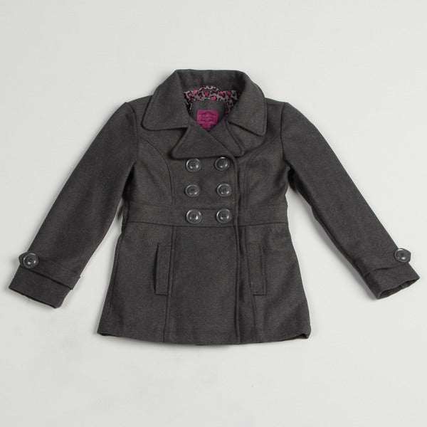 Velvet Chic Girl's Double-breasted Wool Blend Jacket