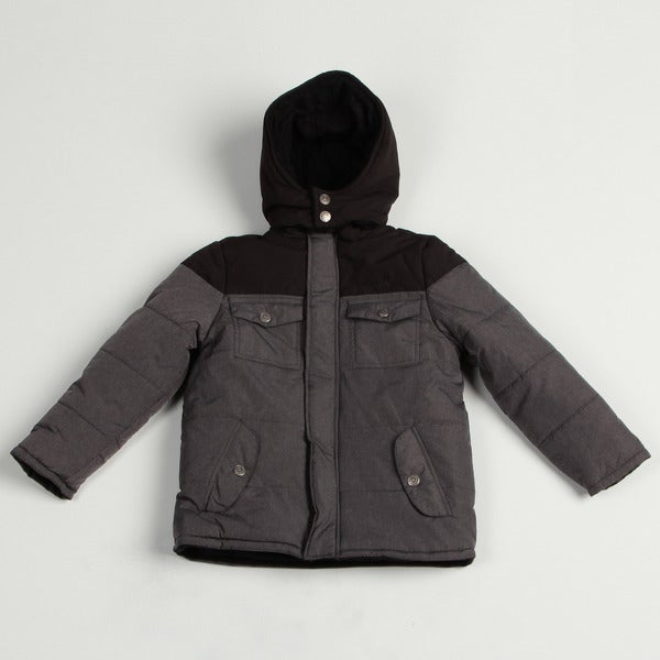 Airwalk Boy's Charcoal Colorblock Puffer Jacket