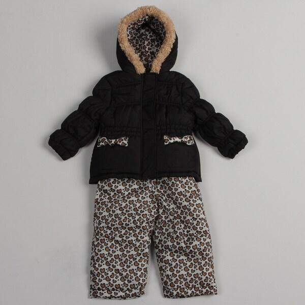 Pink Platinum Toddler Girls' Hooded Puffer Snowsuit