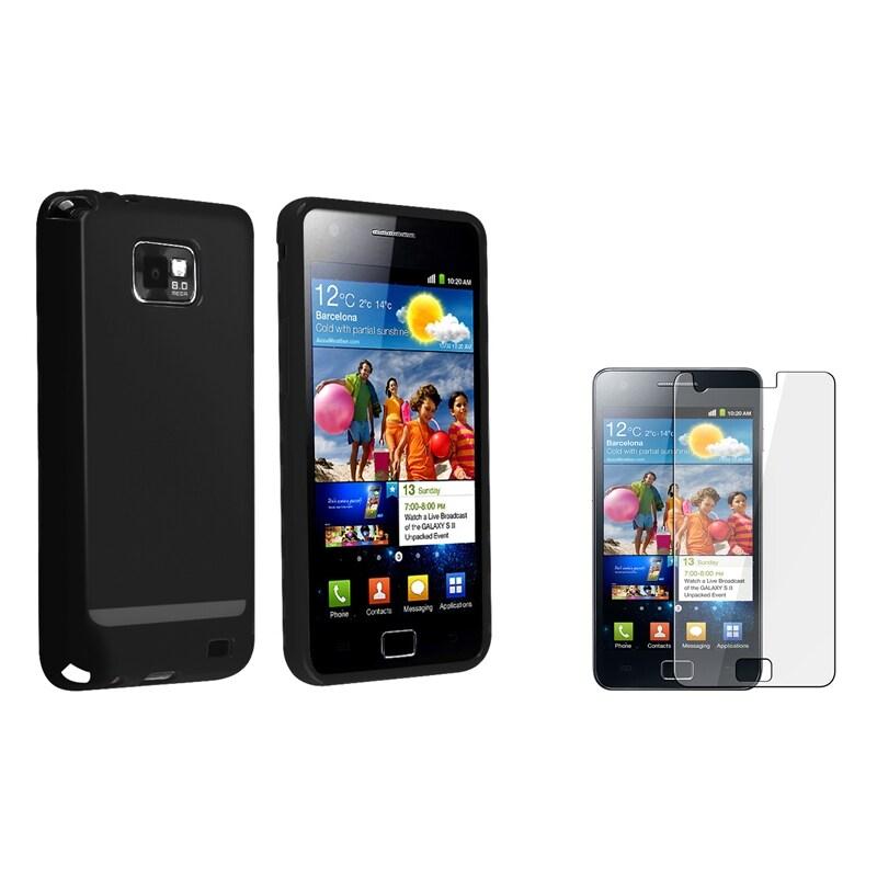 Black TPU Case/ Screen Protector for Samsung Galaxy S II i9100