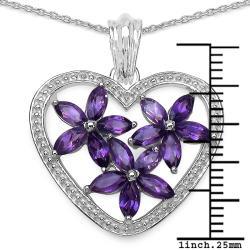 Malaika Sterling Silver Amethyst Heart Pendant