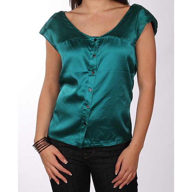 Marilyn Monroe Juniors Teal Silk Blouse