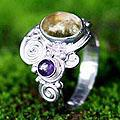 Sterling Silver 'Sunshine' Citrine and Amethyst Ring (Indonesia)