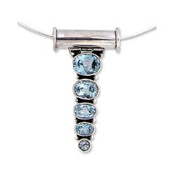 Sterling Silver 'Sky Quintet' Blue Topaz Necklace (India)