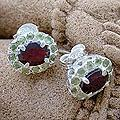 Sterling Silver 'Sisters' Garnet Peridot Earrings (India)