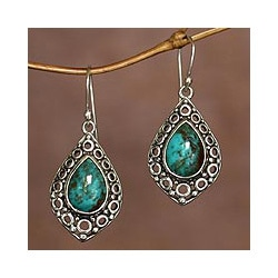 Sterling Silver 'Balinese Lake' Turquoise Earrings (Indonesia)