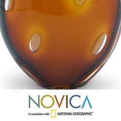 Handblown Glass 'Amber Bubbles' Murano Paperweight (Brazil)