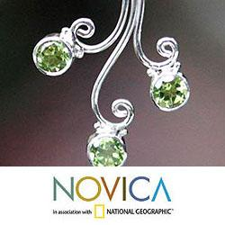 Sterling Silver 'Lime Blossom Trio' Peridot Earrings (Indonesia)