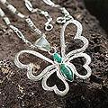 Sterling Silver 'Love Butterfly' Chrysocolla Necklace (Peru)