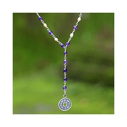 Sterling Silver 'Luck' Amethyst and Pearl Necklace (3 mm) (Indonesia)