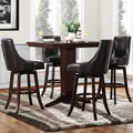 Vella Dark Brown Swivel Upholstered 5-Piece Pub Height Set