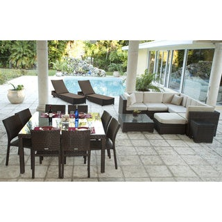 Atlantic 19-piece Deluxe Brown Synthetic Wicker Patio Collection with Antique Beige Sunbrella Cushions