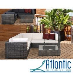 Perugia Grey/Off-White 6-piece Wicker Sectional