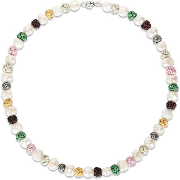 M by Miadora Sterling Silver Multi-colored Leather Knots and Freshwater Pearls Necklace (18.5-inch)