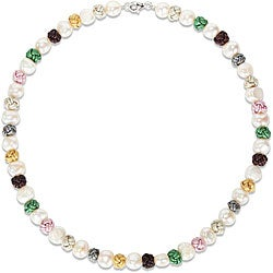 Miadora Sterling Silver Multi-colored Leather Knots and Freshwater Pearls Necklace (18.5-inch)