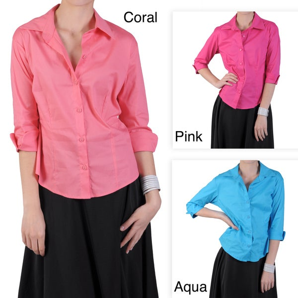 Journee Collection Women's Button-up Three-quarter Sleeve Blouse