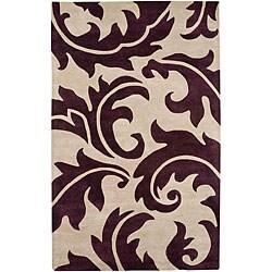 Hand-tufted Ivory/ Purple Wool Blend Rug (3'6 x 5'6)