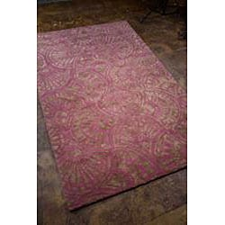 Hand-tufted Purple/ Brown Wool Blend Rug (3'6 x 5'6)
