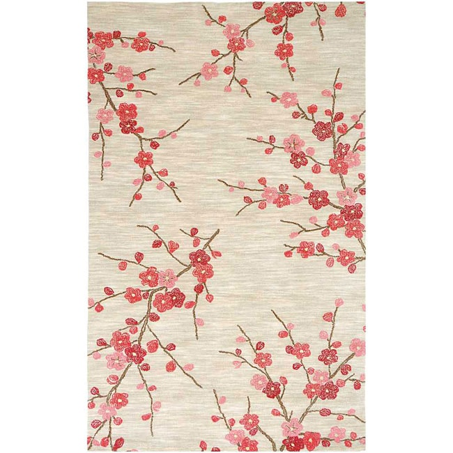 Hand-tufted Sand/ Red Rug (5' x 7'6)