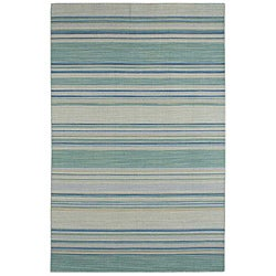 Flat Weave Blue/ Green Wool Rug (2'6 x 8')