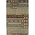 Hand-tufted TRC-965S Green Wool Rug (2' x 3')
