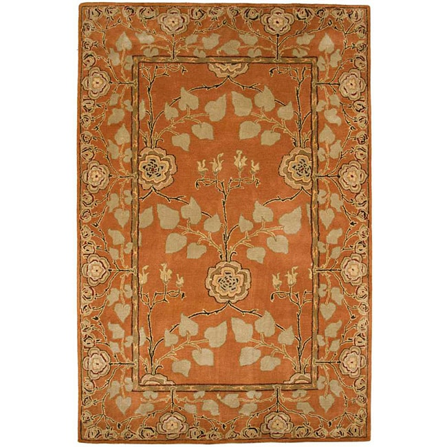 Hand Tufted Orange Wool Rug (3'6 x 5'6)