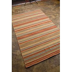 Rust Flat Weave 100 Percent Wool Rug (2' 6 X 8')