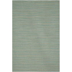 Blue Flat Weave 100 Percent Wool Rug (2' 6 X 8')