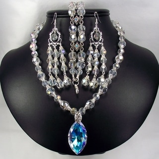 Silverplated Crystal Pendant Wedding Jewelry Set