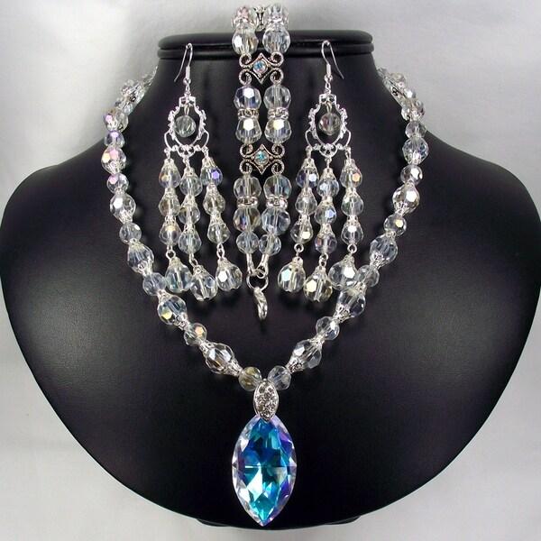 Silverplated Crystal Pendant Wedding Jewelry Set