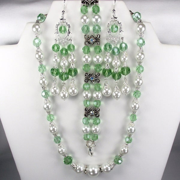 Silverplated White Glass Pearls and Chrysolite Crystals