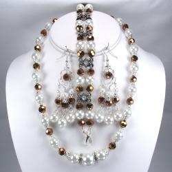 Silverplated White Glass Pearls and Copper Crystal Jewelry Set