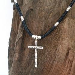 Handmade Karen Hill Silver Cross Pendant Necklace (Thailand)