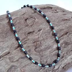 Handmade Karen Tribe Onyx/ Turquoise Necklace (Thailand)