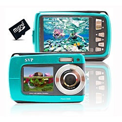 Aqua 5500 18MP Dual Screen Blue Waterproof Camera with Micro 16GB
