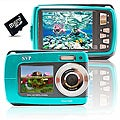 Aqua 5500 18MP Dual Screen Waterproof Blue Digital Camera with 32GB Card