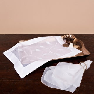 Sheer Polyester Applique Table Linens