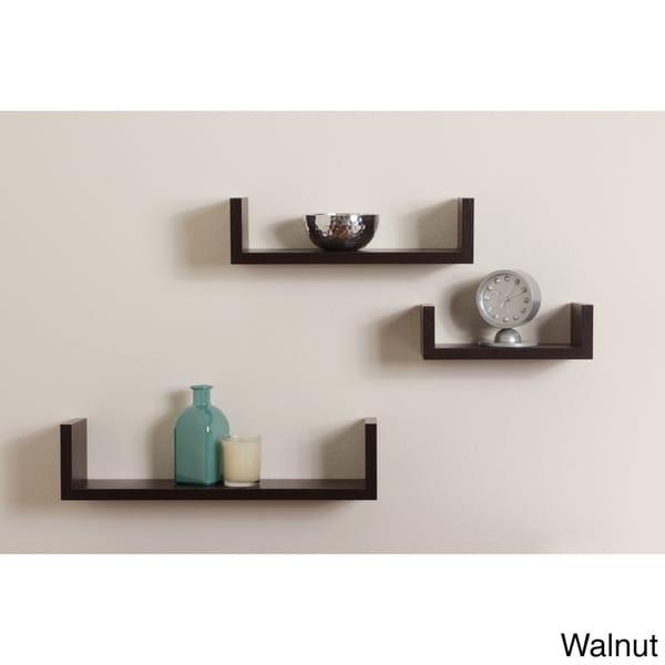 Floating U Walnut Finish Shelves Set of 3