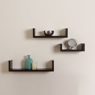 Floating 'U' Walnut Finish Shelves (Set of 3)