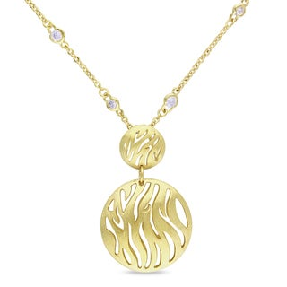 M by Miadora Matte 18-karat Gold-plated 2-7/8-carat TGW CZ Necklace (16-inch)