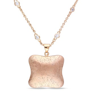 Miadora 18k Gold Plated Rosetone Cubic Zirconia Necklace (16in)